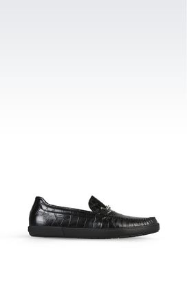 Armani Moccasins Men croc print leather loafers