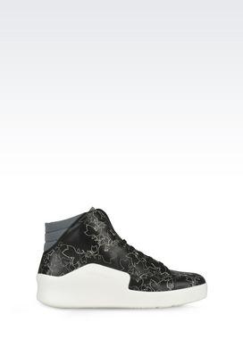 Armani Sneakers allacciate Uomo sneakers alte in nappa con ricamo