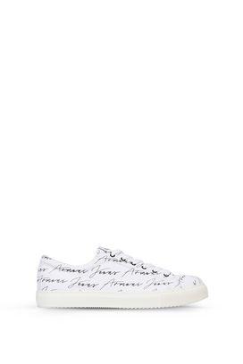 Armani Scarpe Uomo sneakers basse in twill di cotone con stampa firma all over