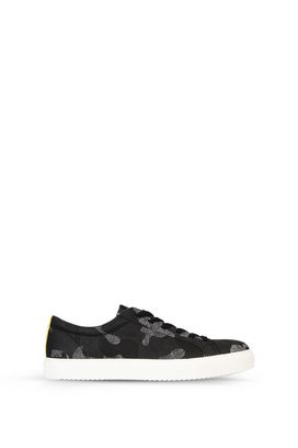 Armani Shoes Men cotton twill low-top sneakers with all-over signature print