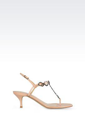 Armani Sandali con tacco Donna sandali infradito in pelle con dettagli gioiello