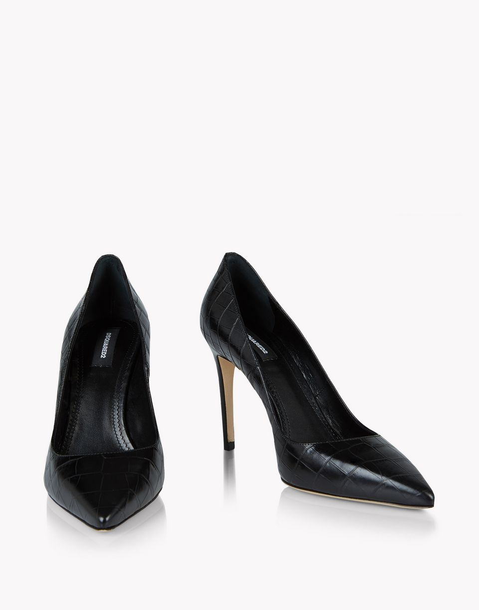 croc-effect leather pumps shoes Woman Dsquared2