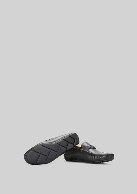LEATHER DRIVING LOAFERS: Driving Shoes Men by Armani - 5