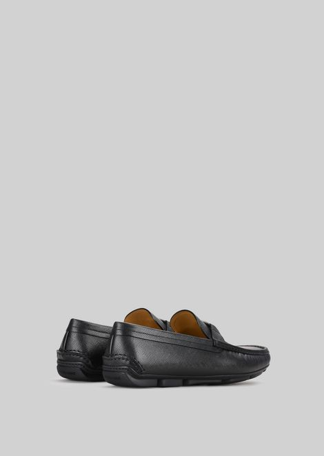 LEATHER DRIVING LOAFERS: Driving Shoes Men by Armani - 3