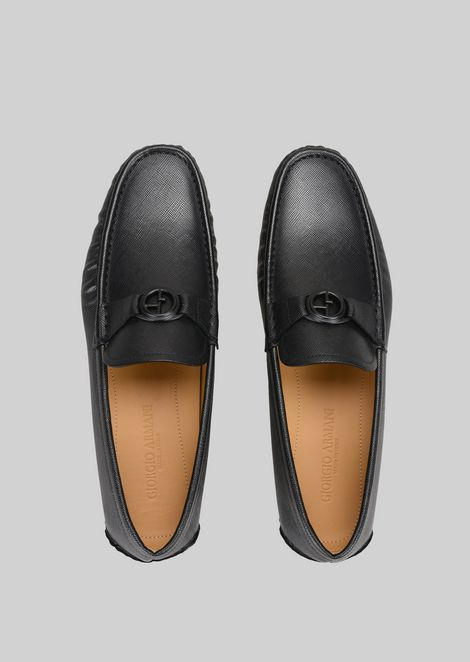 LEATHER DRIVING LOAFERS: Driving Shoes Men by Armani - 4