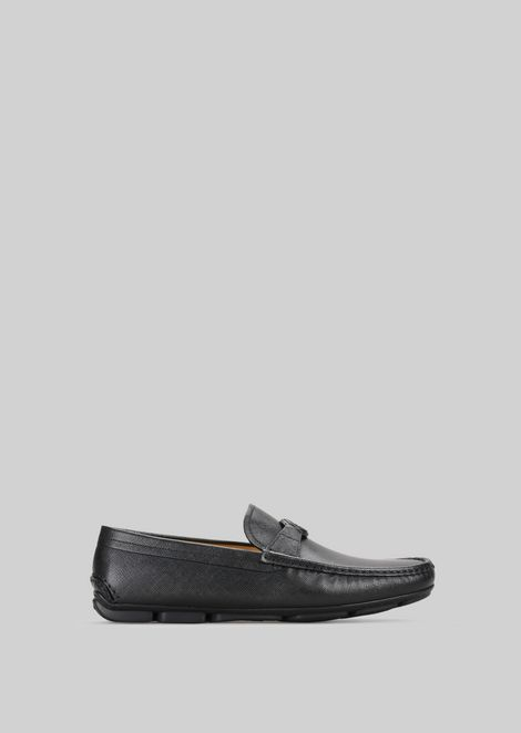 LEATHER DRIVING LOAFERS: Driving Shoes Men by Armani - 1