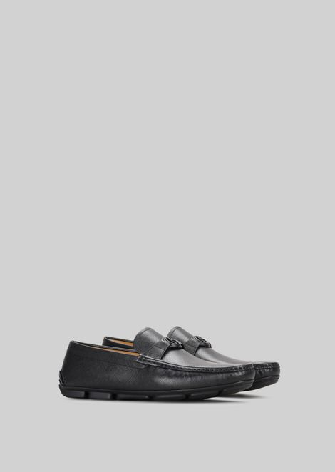 LEATHER DRIVING LOAFERS: Driving Shoes Men by Armani - 2