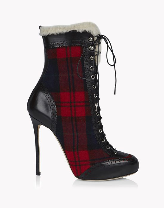check lace-up brogue ankle boots schuhe Damen Dsquared2