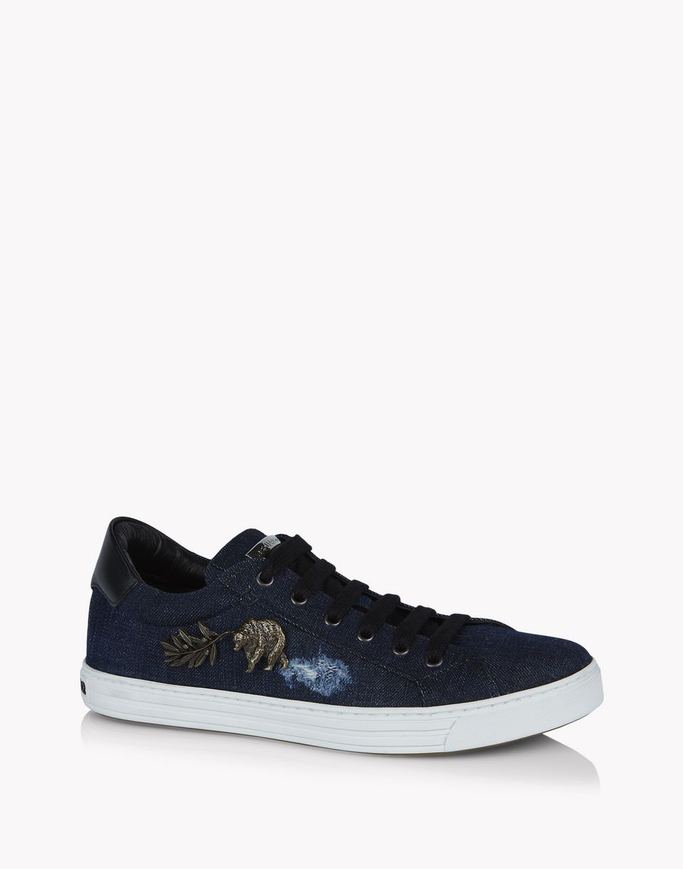 denim embellished tennis club sneakers shoes Woman Dsquared2