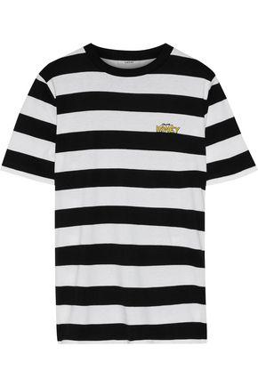 가니 GANNI Embroidered striped cotton-jersey T-shirt,Black