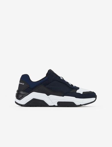 아르마니 익스체인지 Armani Exchange SNEAKERS WITH MICROSUEDE INSERTS,Navy Blue