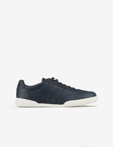 아르마니 익스체인지 Armani Exchange LEATHER SNEAKERS,Navy Blue
