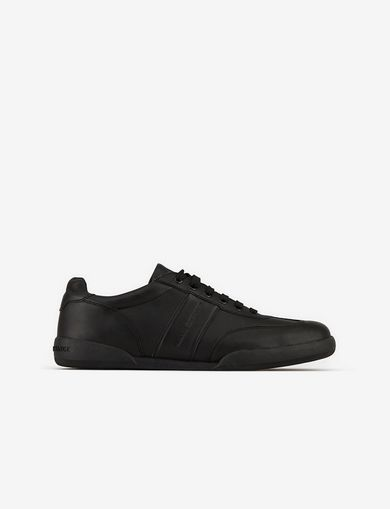 아르마니 익스체인지 Armani Exchange LEATHER SNEAKERS,Black