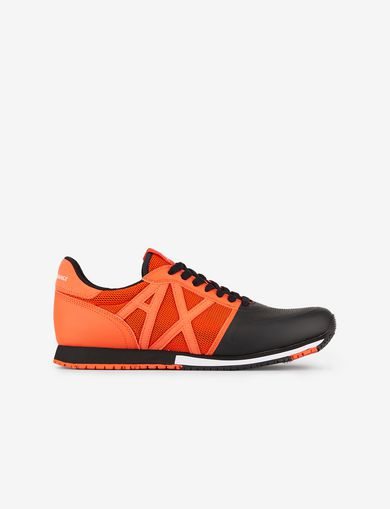 아르마니 익스체인지 Armani Exchange SNEAKERS IN MICRO SUEDE AND MESH,Orange