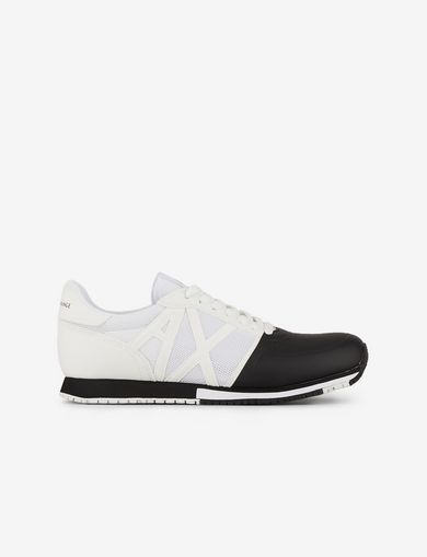 아르마니 익스체인지 Armani Exchange SNEAKERS IN MICRO SUEDE AND MESH,Black/White