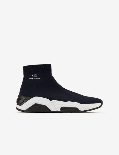 아르마니 익스체인지 Armani Exchange HIGH SOCK SNEAKERS,Navy Blue