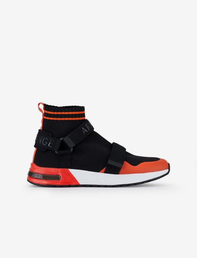 아르마니 익스체인지 Armani Exchange SOCK SNEAKERS WITH STRAPS,Black