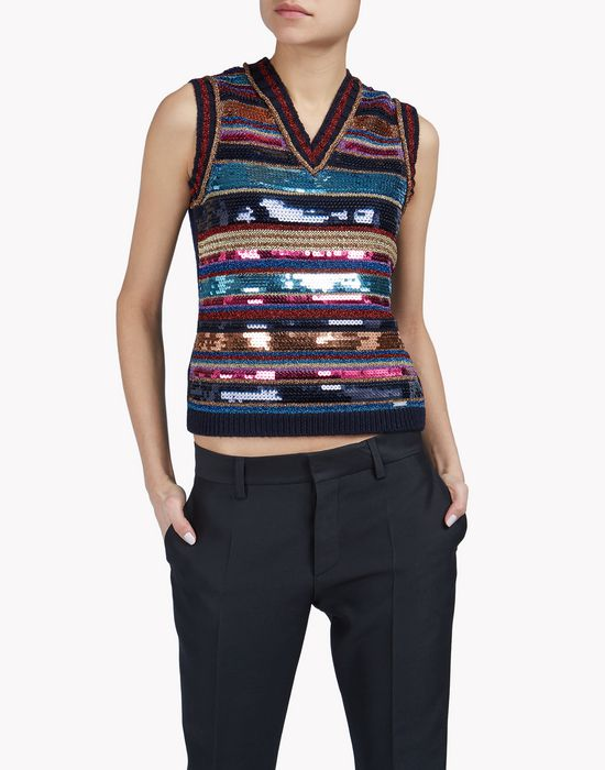embellished knit vest tops & tees Woman Dsquared2