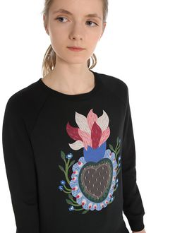 REDValentino Special Edition  Sweatshirt with heart print and embroidered flowers