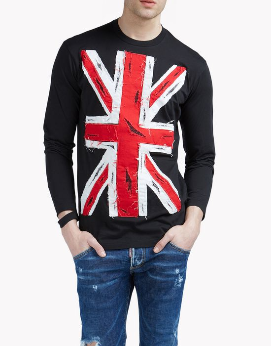 union jack long sleeve tops & tees Man Dsquared2