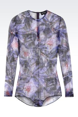 Armani Tops Women printed stretch tulle top