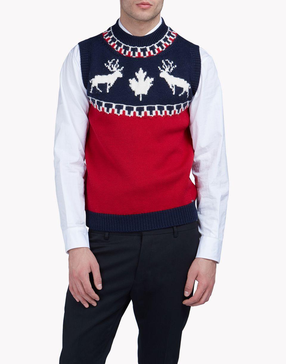 intarsia nordic deers pullover vest top wear Man Dsquared2