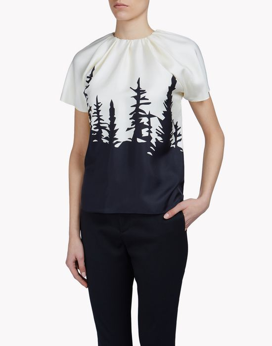 silk-chiffon forest shirt camisetas y tops Mujer Dsquared2