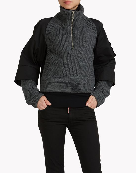 ribbed wool half-zip pullover top wear Woman Dsquared2