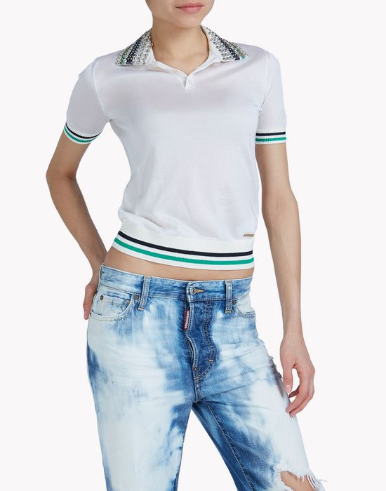 embellished polo shirt tops Femme Dsquared2