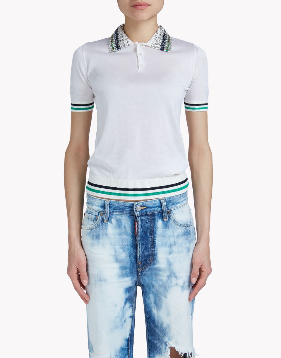 embellished polo shirt top wear Woman Dsquared2