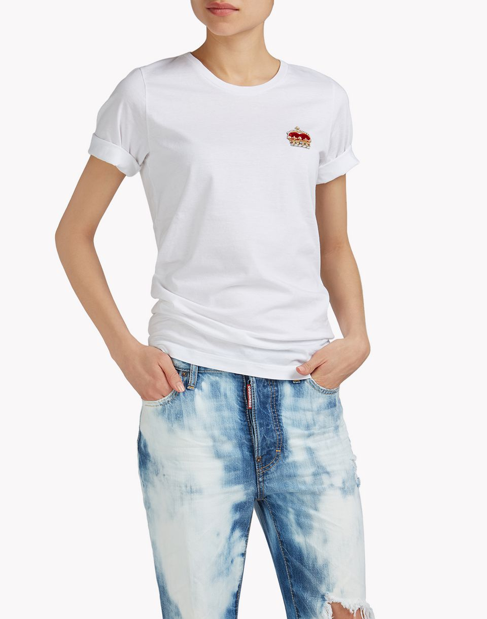 embellished crown t-shirt top wear Woman Dsquared2