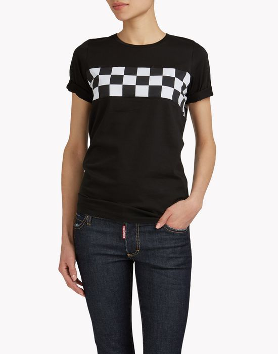 checkerboard t-shirt tops & tees Woman Dsquared2