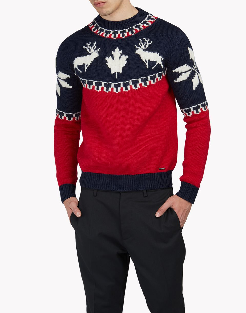 intarsia nordic deers pullover top wear Man Dsquared2
