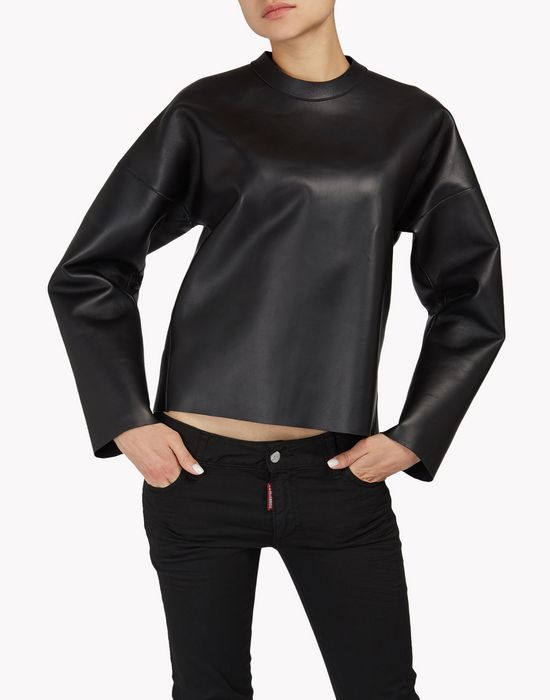 back-zip leather sweatshirt tops & tees Woman Dsquared2