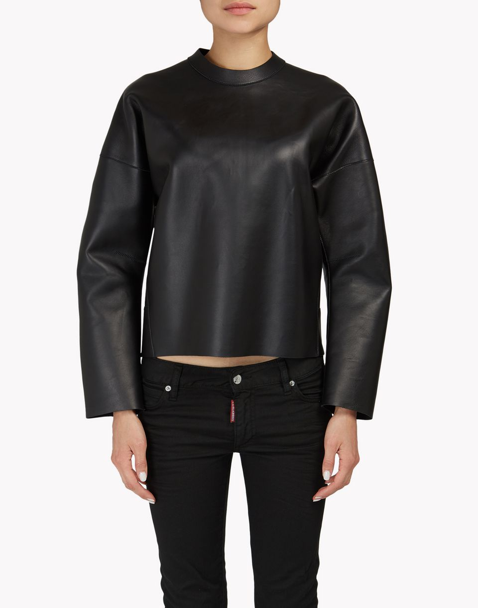back-zip leather sweatshirt top wear Woman Dsquared2