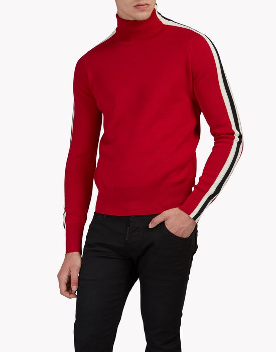 striped wool turtleneck pullover top wear Man Dsquared2