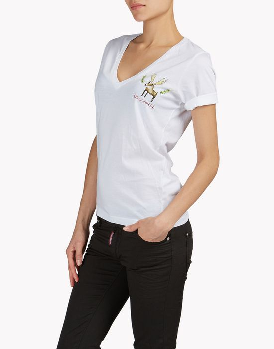 reindeer t-shirt top wear Woman Dsquared2