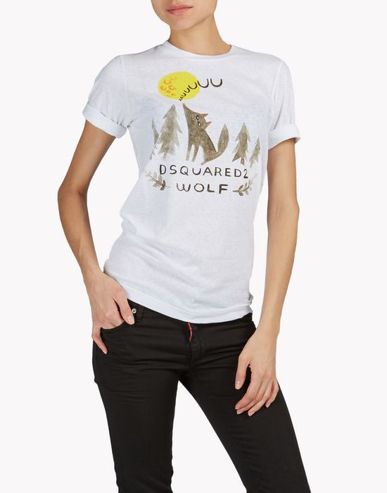 d2 wolf t-shirt top wear Woman Dsquared2