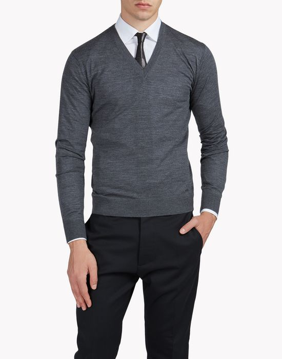 wool v-neck pullover top wear Man Dsquared2