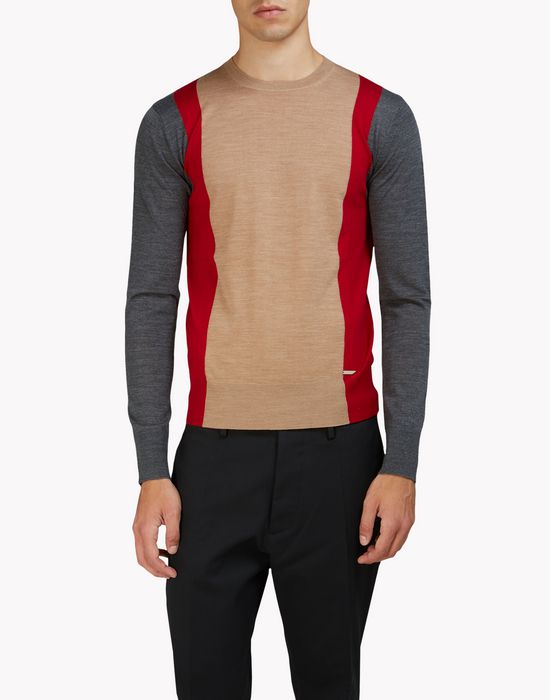 contrasted wool crew neck pullover tops & tees Man Dsquared2