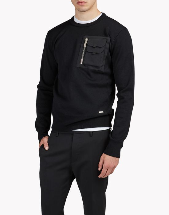 chest pocket wool knit pullover tops & tees Man Dsquared2
