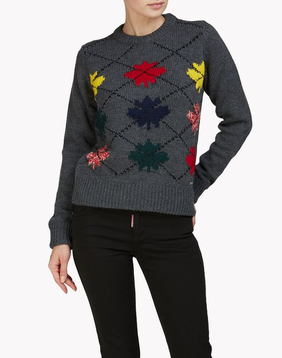 maple leaf argyle sweater top wear Woman Dsquared2