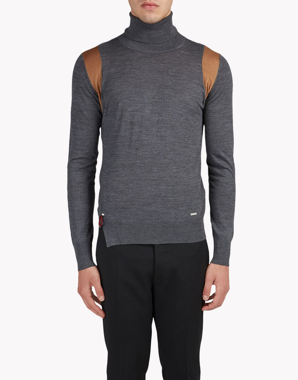 contrasted wool turtleneck pullover top wear Man Dsquared2