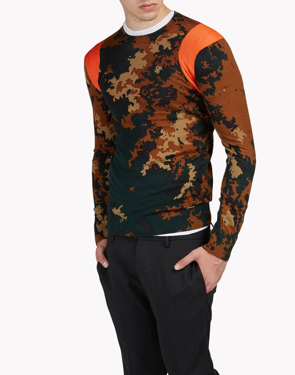 camouflage wool crew neck pullover tops & tees Man Dsquared2