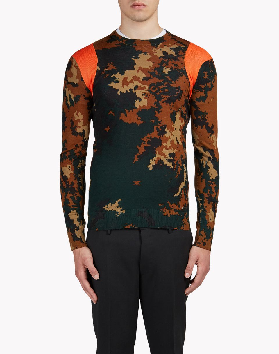 camouflage wool crew neck pullover top wear Man Dsquared2
