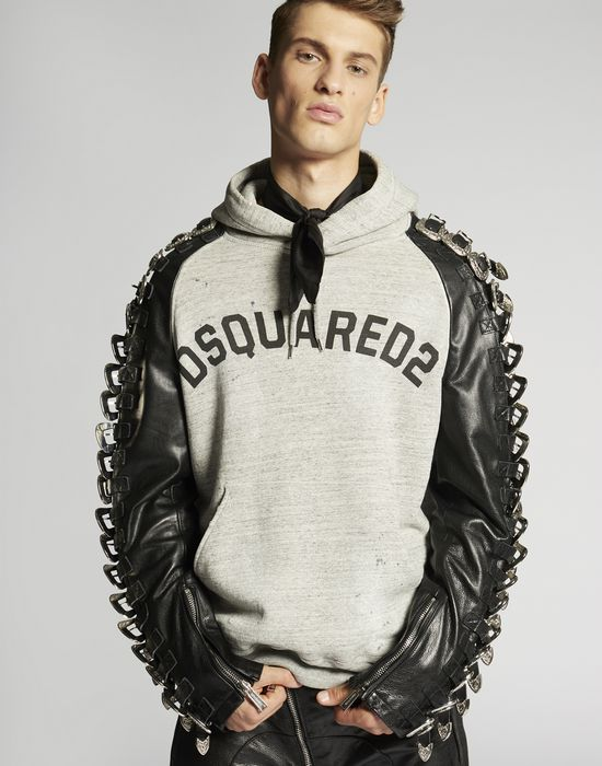 leather buckle hoodie camisetas y tops Hombre Dsquared2