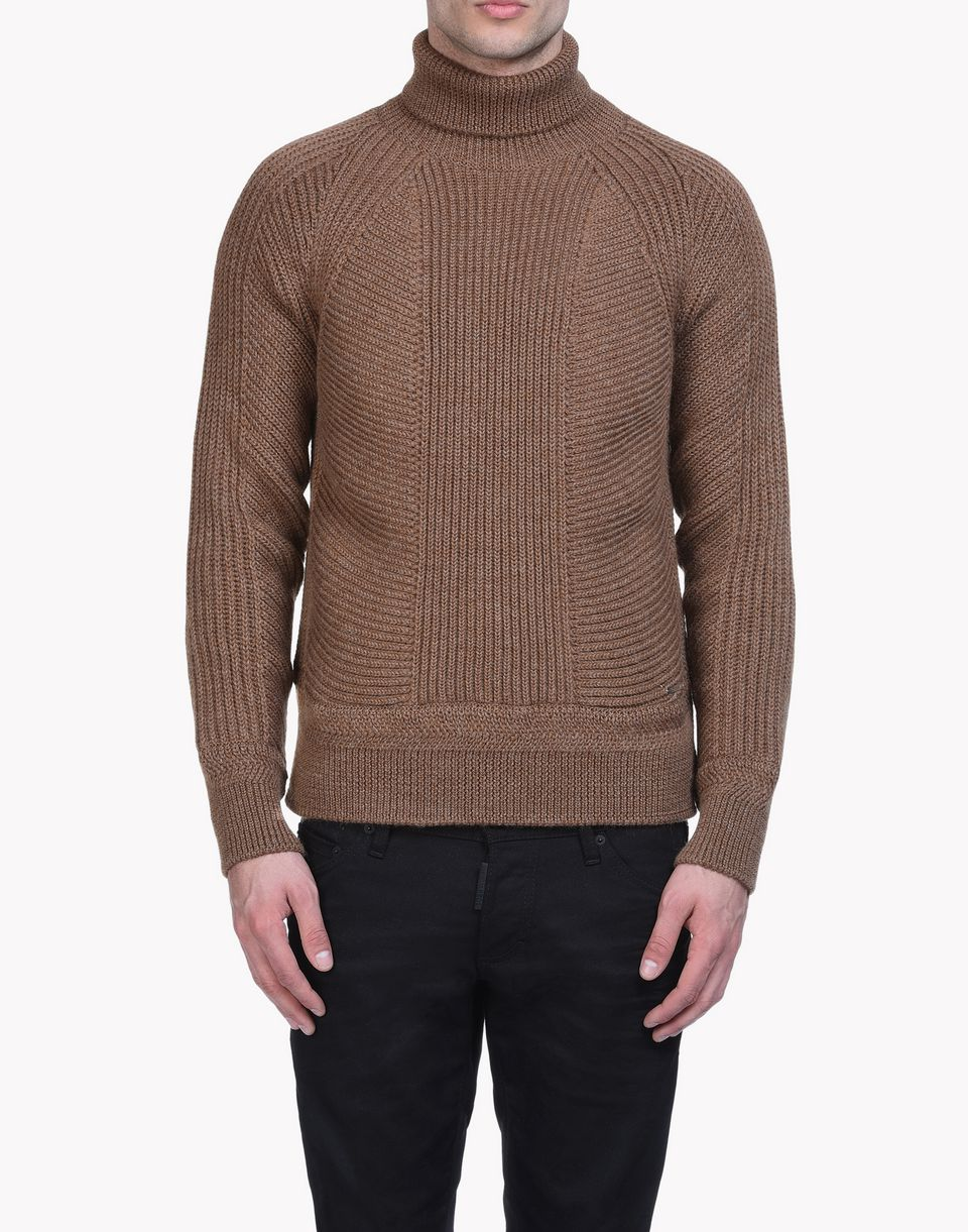 Dsquared2 Ribbed Wool Turtleneck Pullover Brown - Pullovers for ...