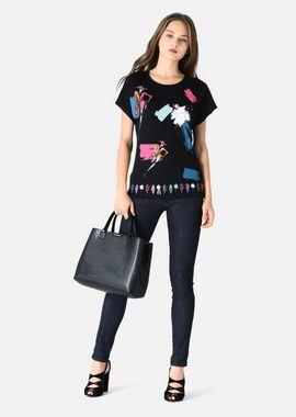 Armani T-Shirts Women wide crewneck t-shirt in lightweight modal cotton