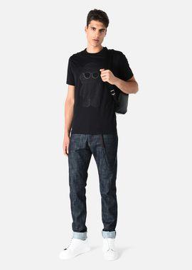 Armani T-Shirts Men cotton jersey t-shirt with eagle logo print