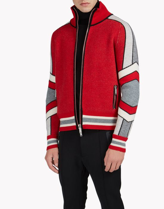 intarsia ski wool zip-up sweater top wear Man Dsquared2